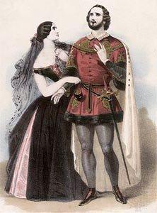 飾演姪子 Ernesto 的歌手 Giovanni Mario(左),與擔任女主角 美麗的寡婦 Norina 之歌手 Giulia Grisi(歌劇《清教徒》劇照)。