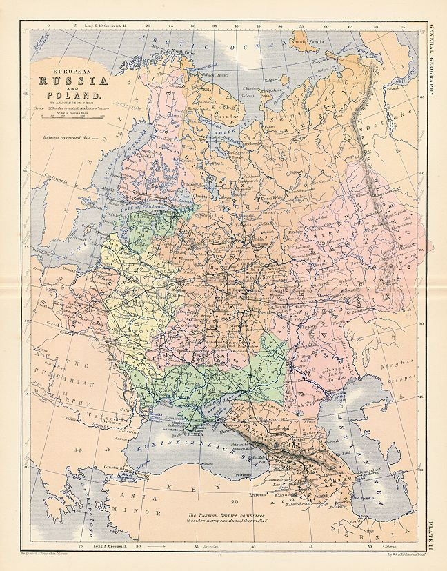 """""""European Russia and Poland"""" by A.K.Johnston, published by W. & A.K.Johnston in their Atlas of General and Descriptive Geography, about 1879. Colour lithographic antique map, with centrefold as published. Good condition. Size 23.5 x 31 cms including title, plus margins."""