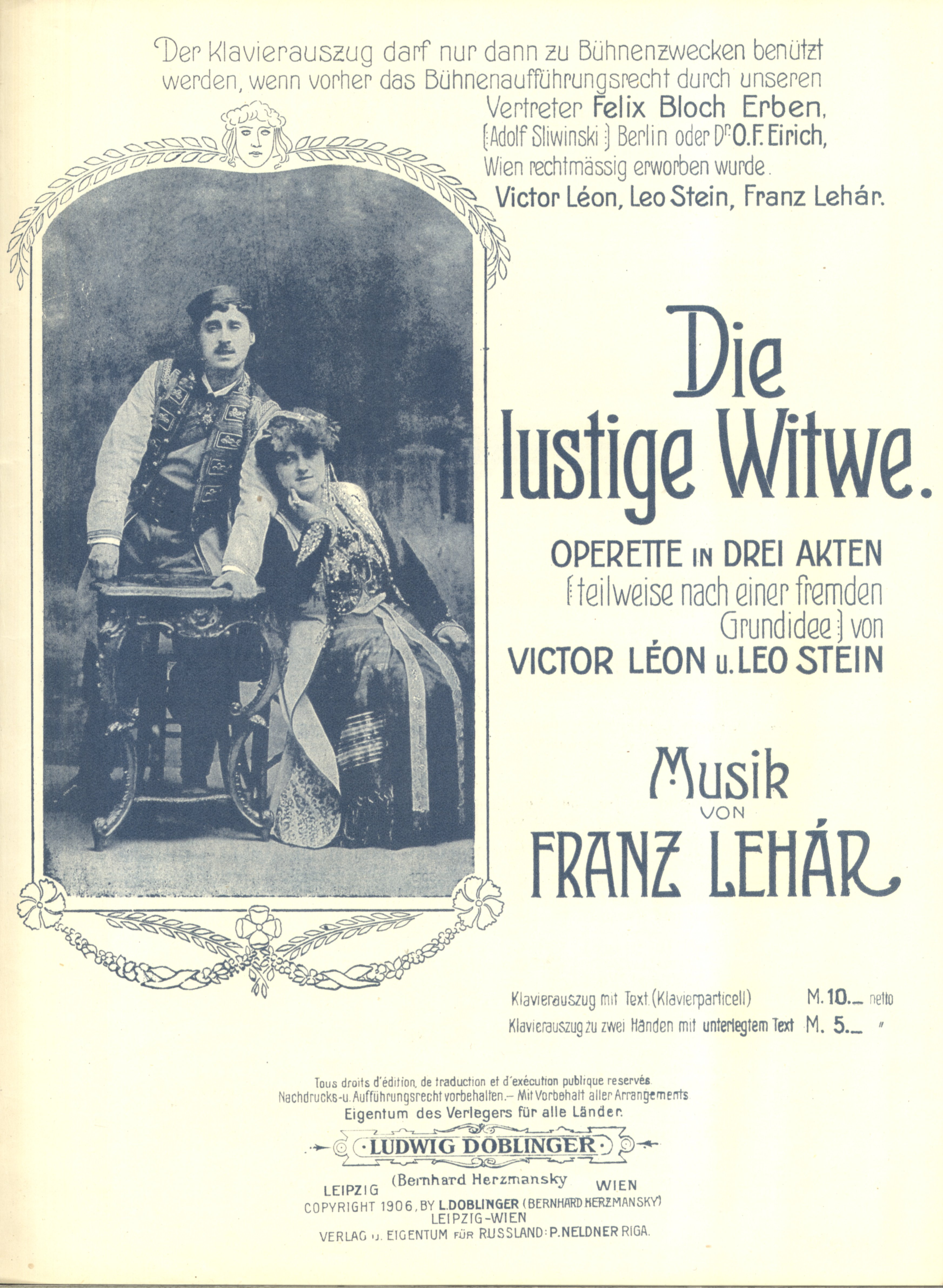Louis Treumann and Mizzi Günther on the frontpage of a piano-vocal score, 1906